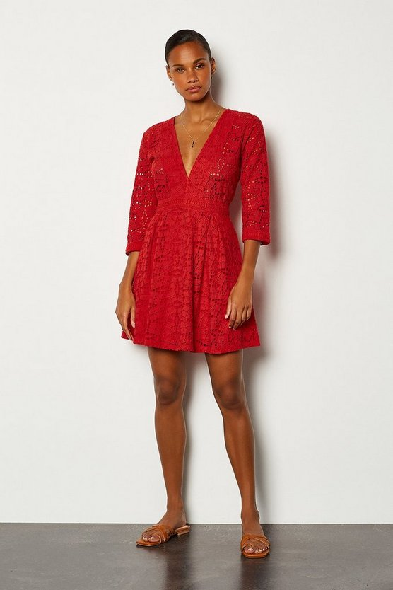 Red Cutwork Embroidered Dress