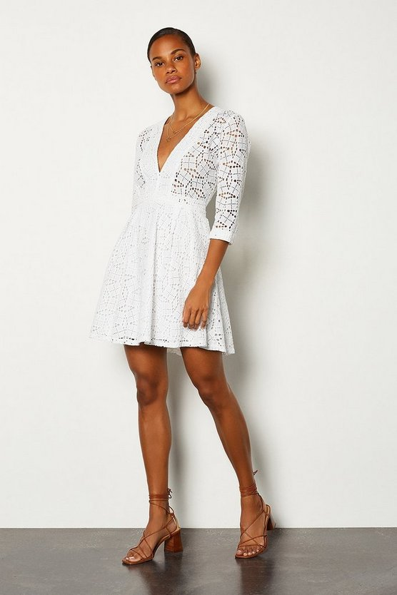 White Cutwork Embroidered Dress