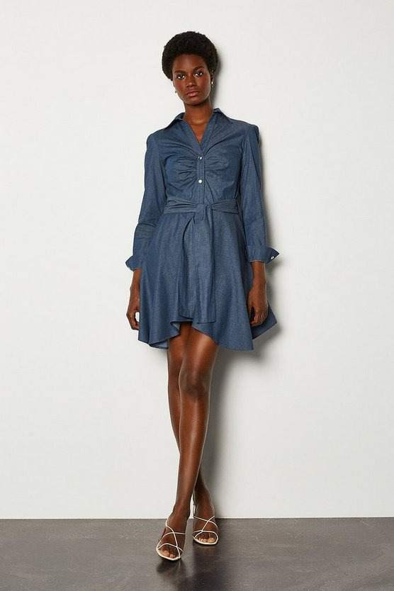 Blue Chambray Shirt Dress Tie Belt