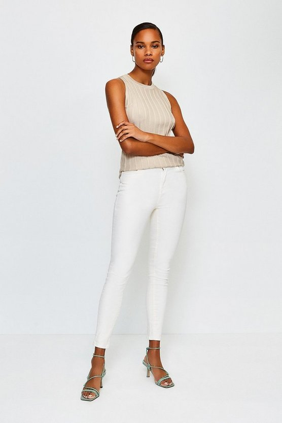 Cream 5 Pocket Stretch Jean