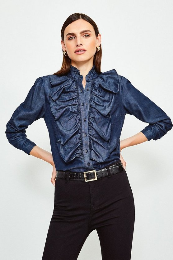 Blue Long Sleeve Ruffle Front Tencel Shirt