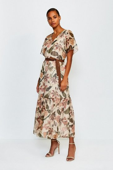 Cream Floral Print Tiered Maxi Dress