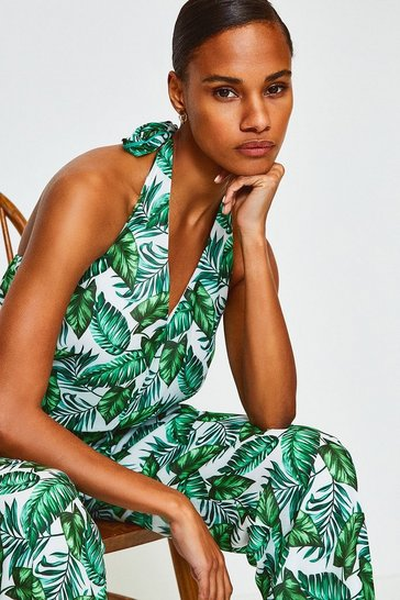 Green Tropical Lace Strappy Jumpsuit