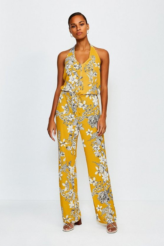 Yellow Floral Print Strappy Jumpsuit