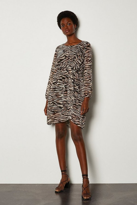Zebra Print Long Sleeve Dress