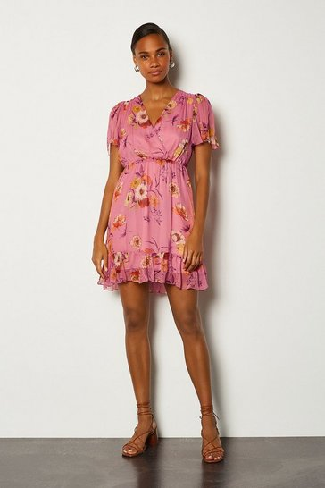 Pink Floral Print Wrap Fluted Sleeve Short Dress