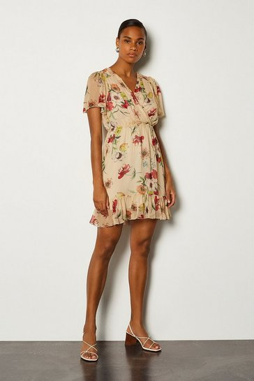 White Floral Print Wrap Fluted Sleeve Short Dress