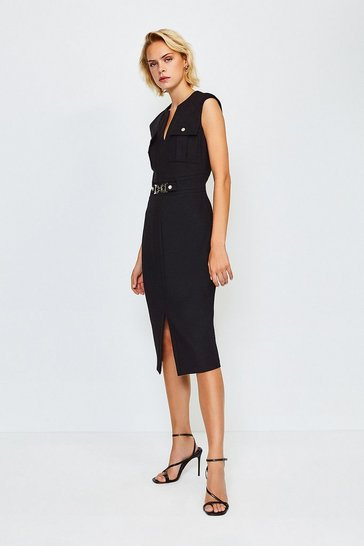 Black Utility Snaffle Trim Dress