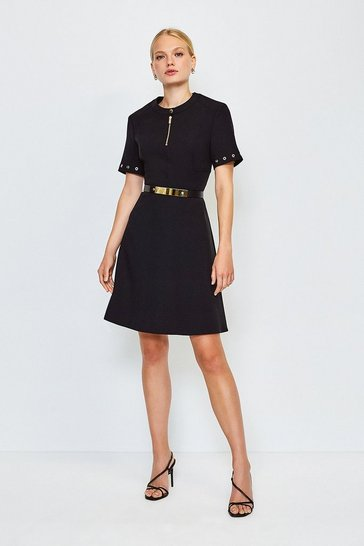 Black Belted Eyelet Detail Short Sleeve A-Line Dress