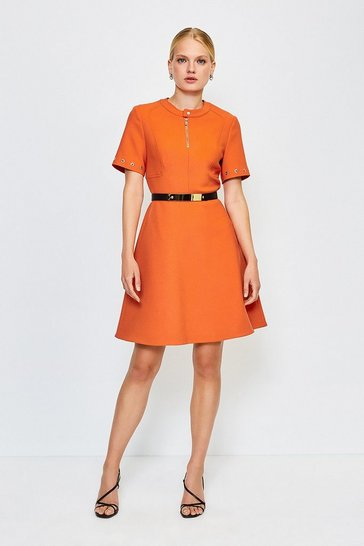 Orange Belted Eyelet Detail Short Sleeve A-Line Dress
