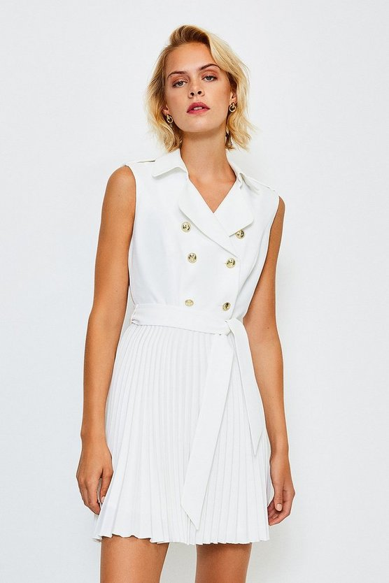 Ivory Military Pleated Skirt Dress