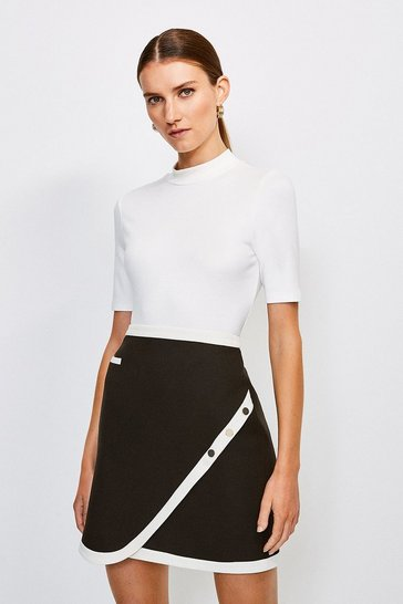Mono Button A-Line Colour Block Skirt