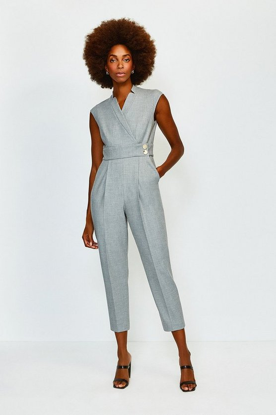 Grey Collar Wrap Popper Jumpsuit
