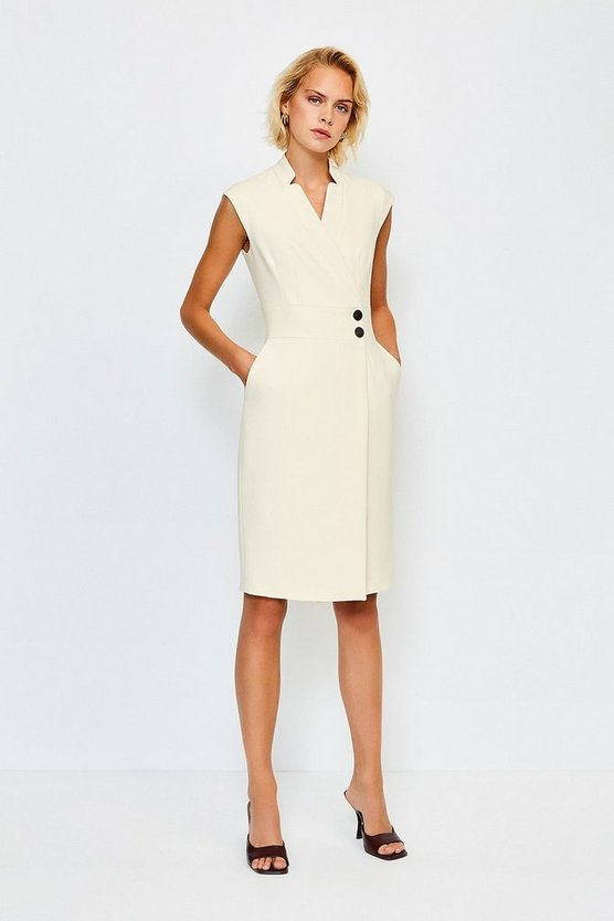 Cream Collar Wrap Popper Dress