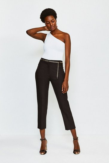 Black Chain Belt Tailored Trousers