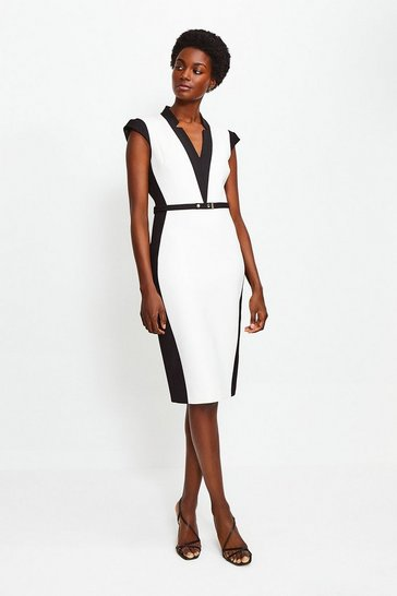 Mono Cap Sleeve Colour Block Pencil Dress