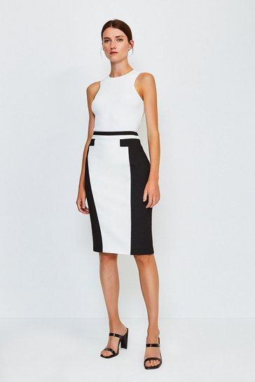 Mono Panel Block Pencil Skirt