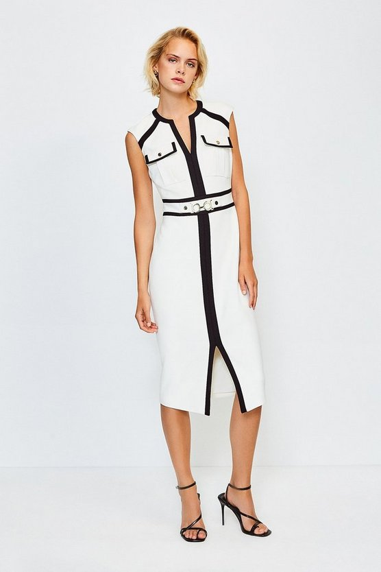Mono Colour Blocked Buckle Trim Pencil Dress