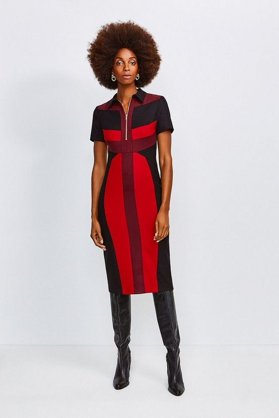 Multi Collared Colour Block Pencil Dress