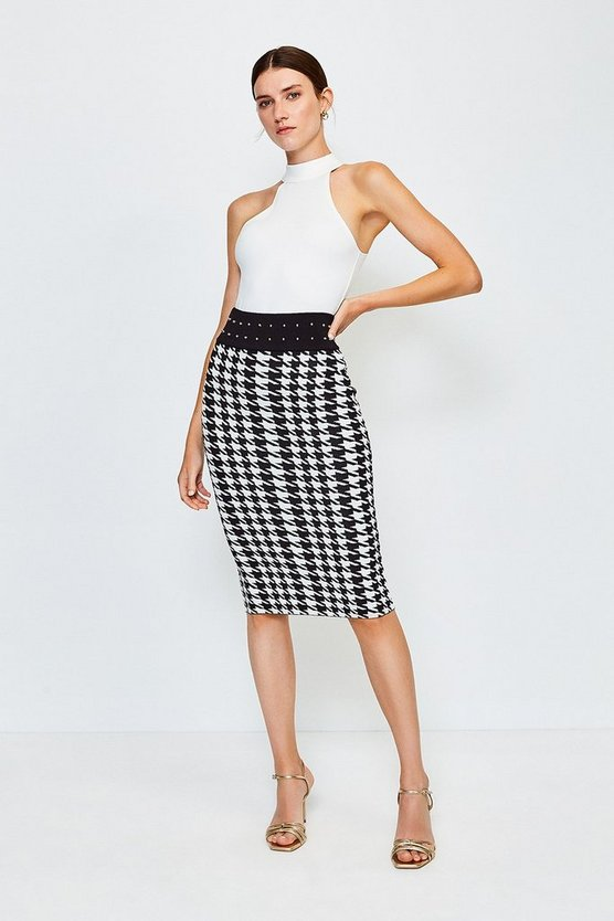 Blackwhite Dogtooth Knitted Jacquard Skirt
