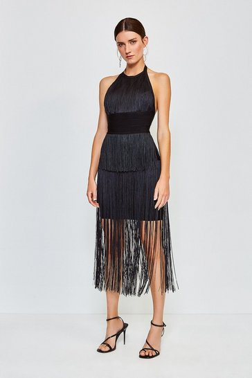 Black Fringe Bandage Knit Dress