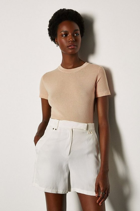 Sand Short Sleeve Knitted Top