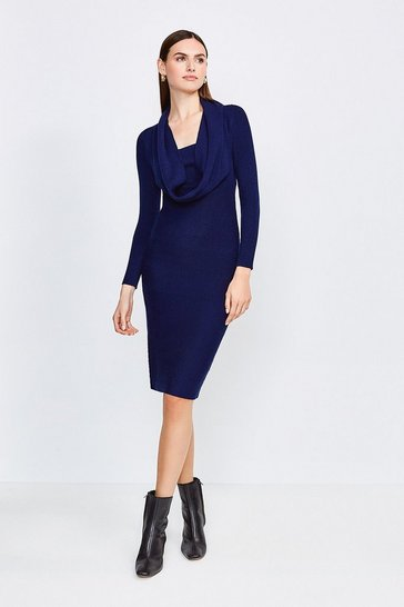 Navy Cowl Neck Rib Knitted Dress