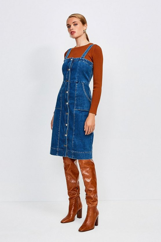 Indigo Popper Front Sleeveless Denim Dress