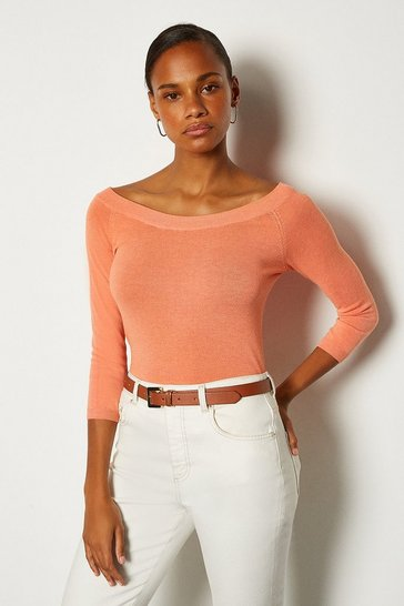 Apricot Boat Neck Knitted Jumper