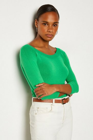 Green Boat Neck Knitted Jumper