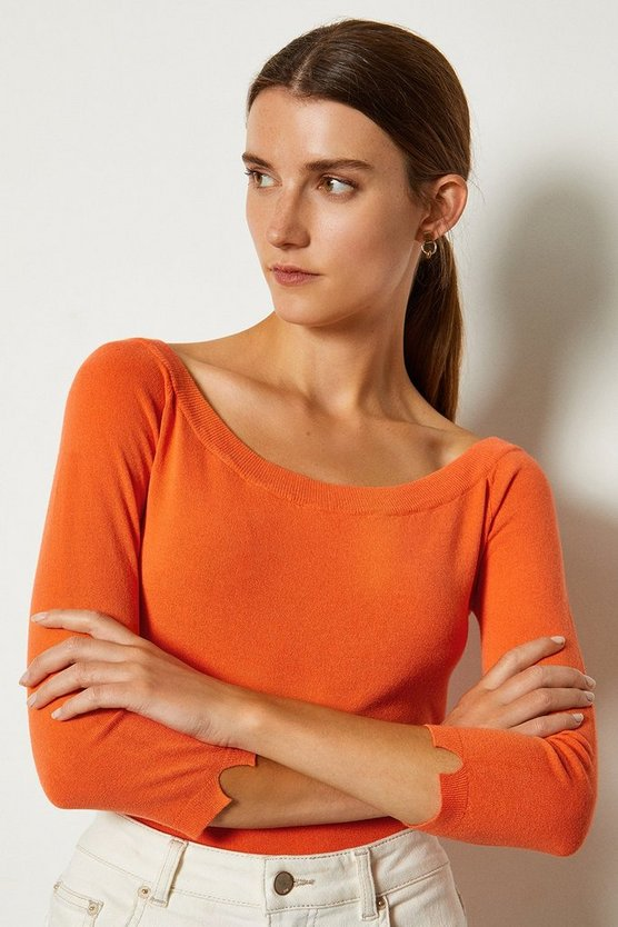 Orange Boat Neck Knitted Keyhole Jumper