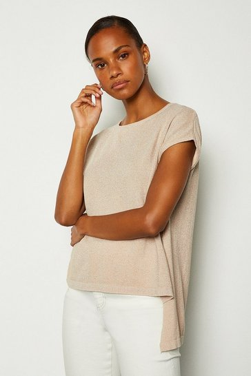 Nude Short Sleeve Knitted Top