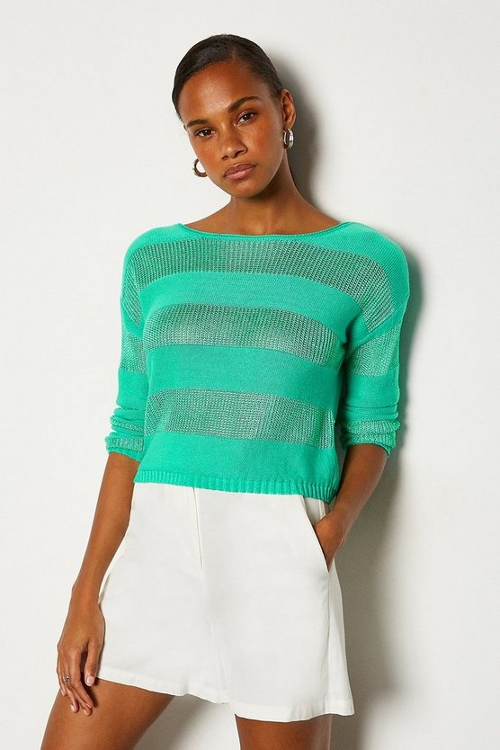 Aqua Stitch Stripe Jumper