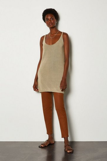 Sand Loose Knit Cami Dress