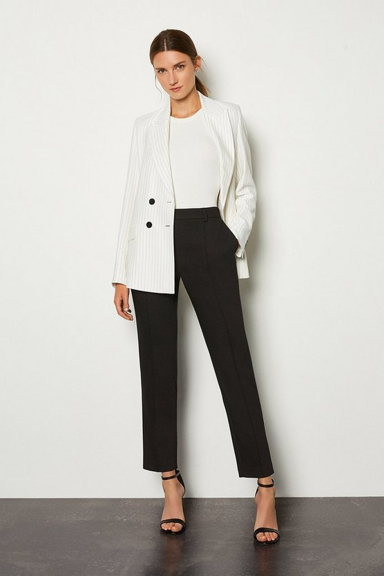 Black Pleat Front Slim Leg Trouser