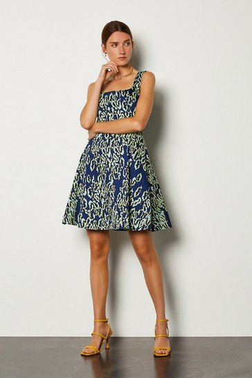 Multi Animal Print Cotton Sateen Dress