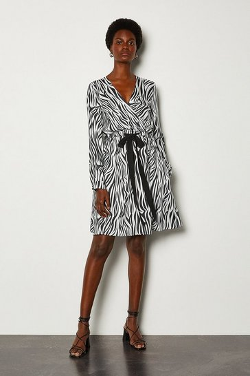 Black Zebra Print Wrap Dress