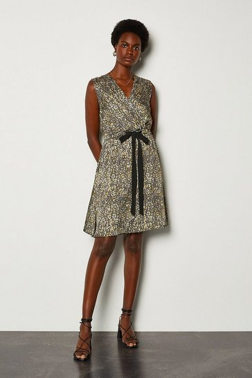 Grey Snake Print Wrap Sleeveless Dress