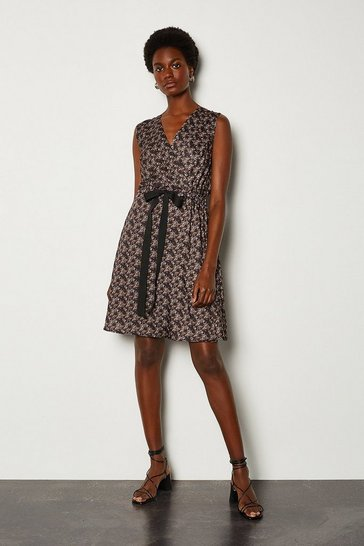 Black Floral Print Wrap Sleeveless Dress