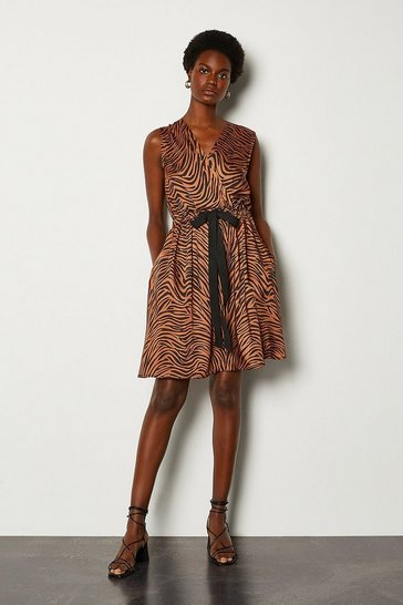 Brown Animal Print Wrap Sleeveless Dress