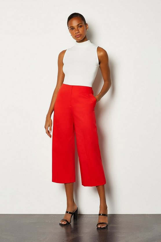 Red Seam Detail Cropped Wide Leg Trousers
