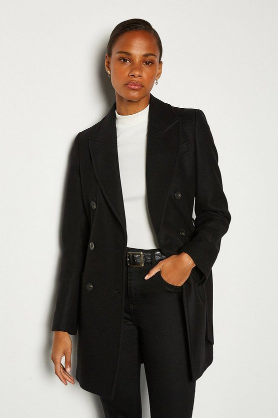 Black Double Breasted Tie Belt Short Coat