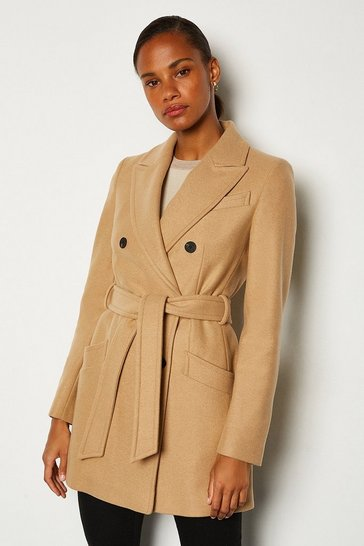Camel Double Breasted Tie Belt Short Coat