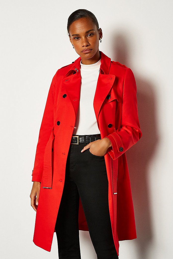 Karen Millen Belt Trench Coat, Black at