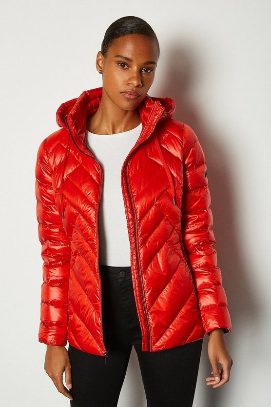 Red Short Packable Puffer Jacket