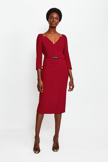 Red Forever Bar Belt Dress