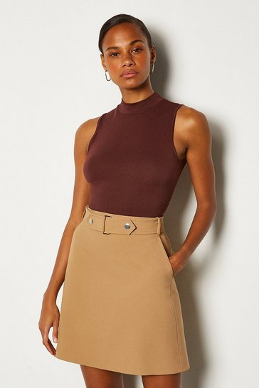 Camel Cinch Waist A-Line Mini Skirt