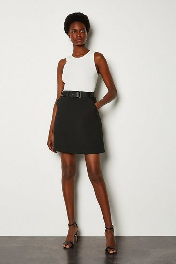 Black Forever Belted A-Line Skirt