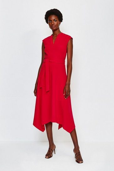 Red Notch Neck Midi Dress