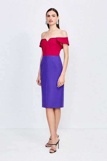 Pink Colourblock Forever Bardot Dress